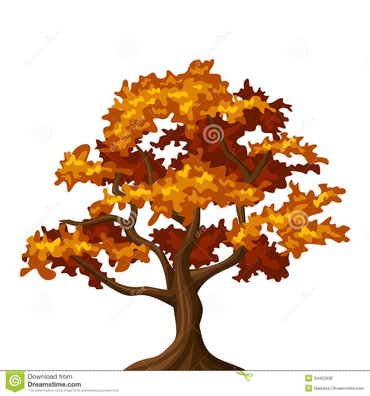 Autumn Oak Tree Clipart.