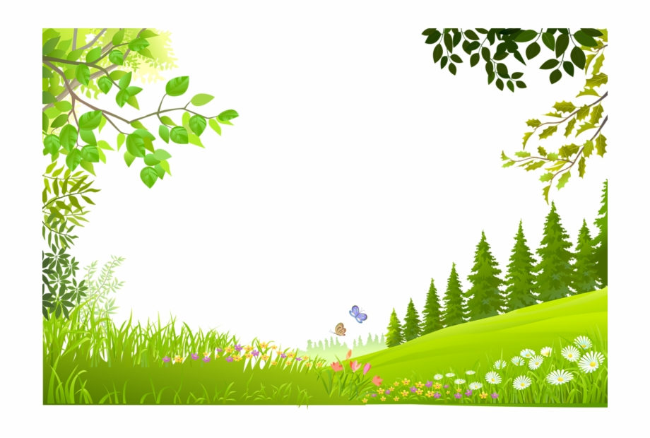 Plants Nature Material Trees Green Grass Cartoon Clipart.