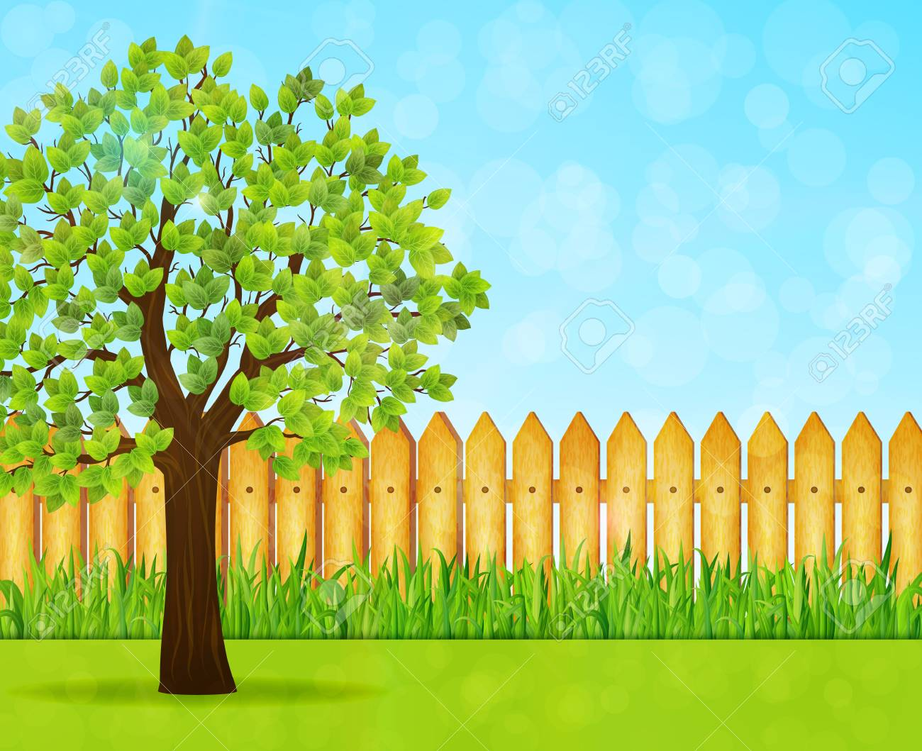 Garden background with green tree and wooden fence » Clipart.
