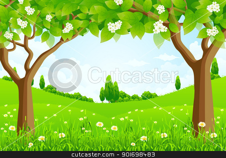 Green Background with Trees stock vector.