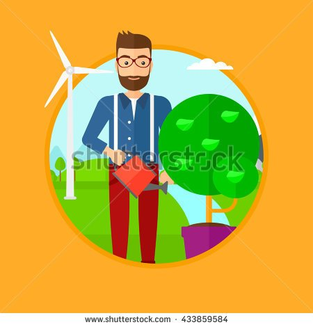 Tree growing in the wind clipart.