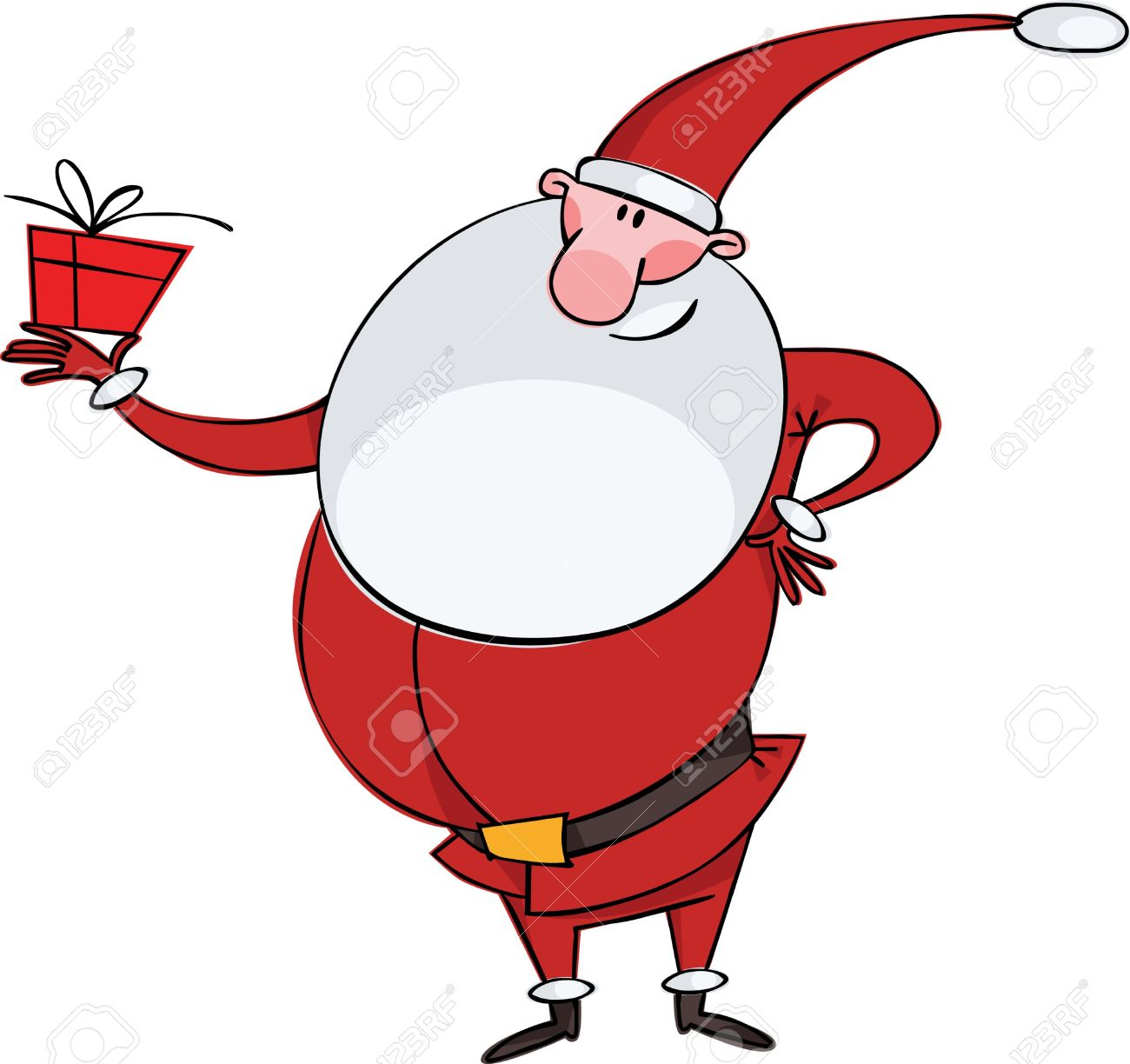 Santa With A Big Beard And A Gift Royalty Free Cliparts, Vectors.