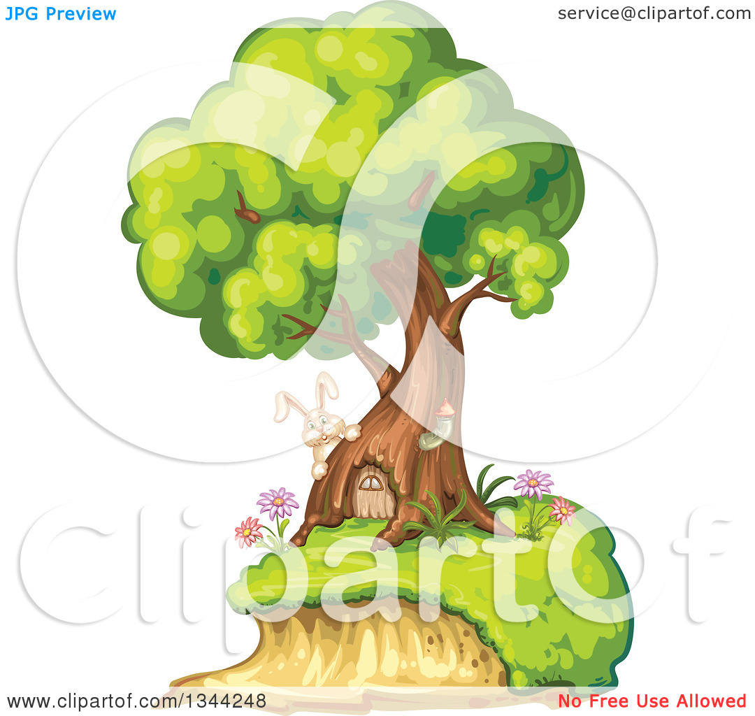 Clipart of a Rabbit by a Tree Home with a Door.