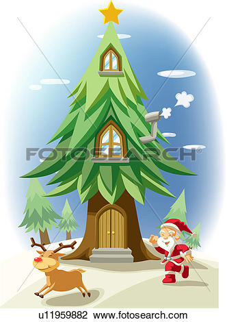 Clip Art of door, snow, tree, deer, SantaClaus, winter u11959882.
