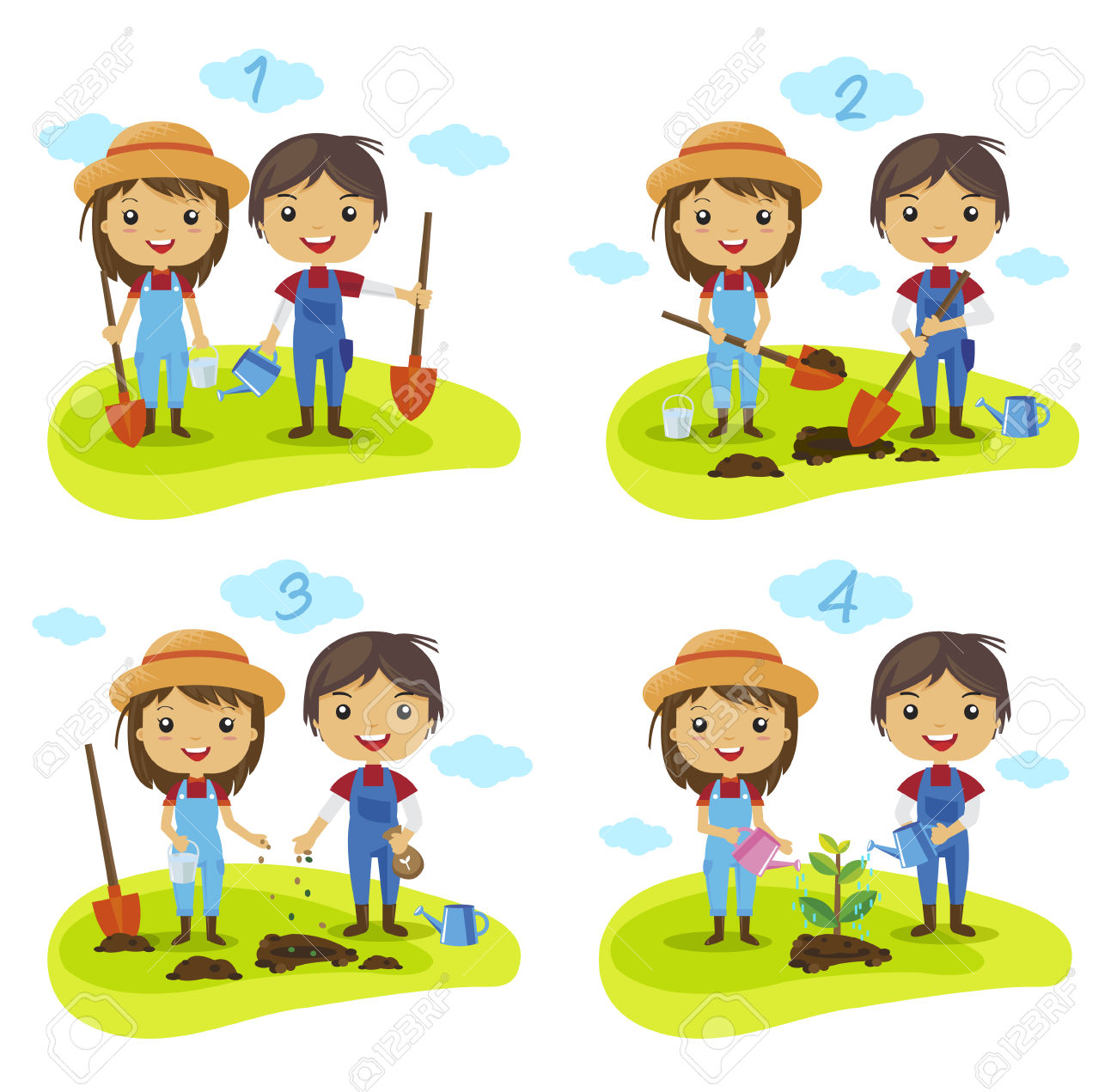 Cartoon Planting Tree Process, How To Grow A Tree, Gardening.