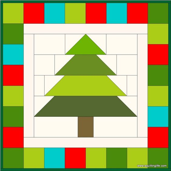 Step by step tutorial to make a Patchwork Christmas Tree block and.