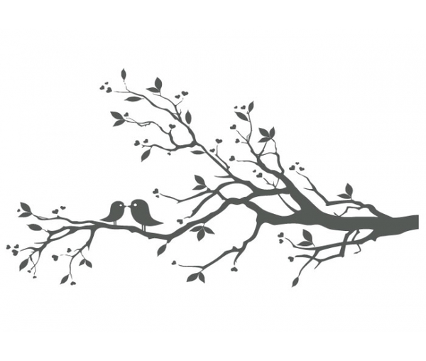 Bird In Tree Black And White Clipart.