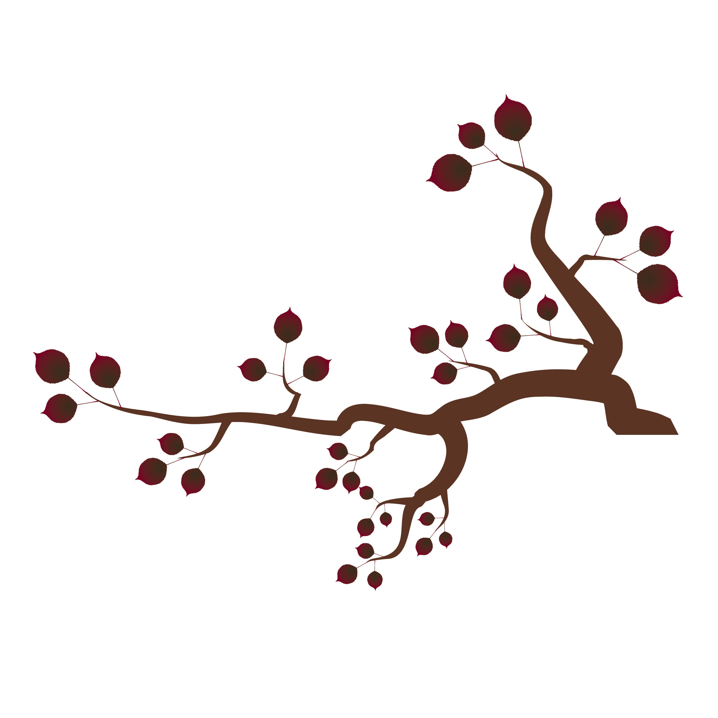 Tree branch with red leaves clipart.