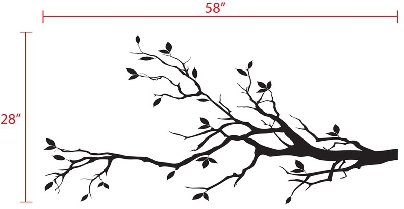 Tree Branch with 10 Birds in Black Wall Decal Deco Art.