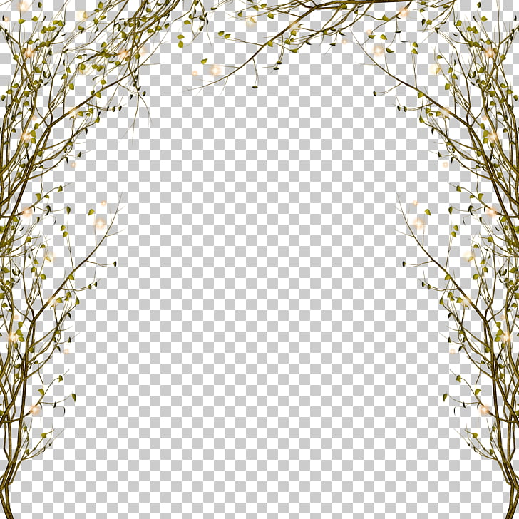 Tree Branch , Branch decorative border pattern, green leafed.