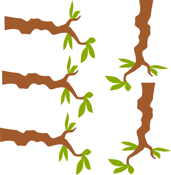 Jungle Tree Branch Vector Clipart.