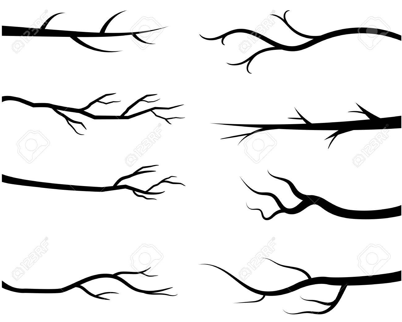 Tree Branch Silhouette Vector.