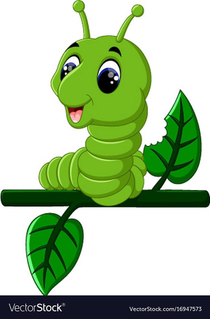 Funny caterpillar runs on a tree branch.