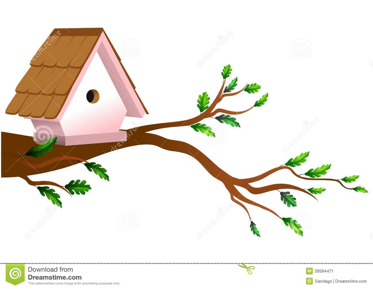 Birdhouse On Tree Stock Vector.