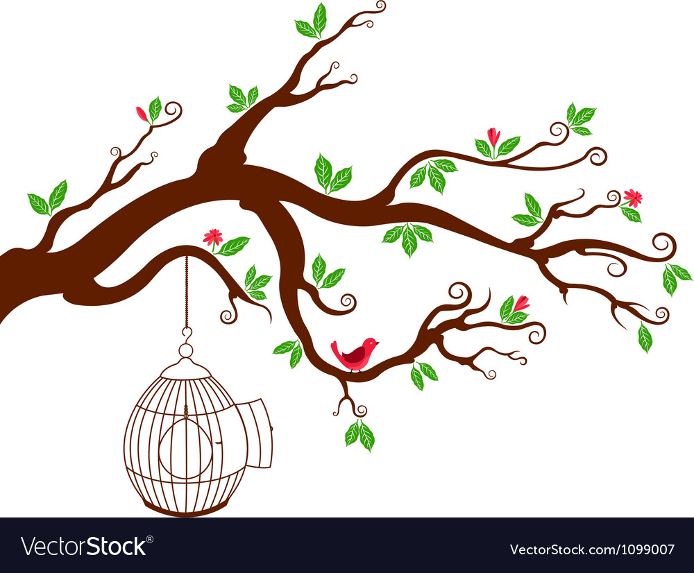 Tree Branch with bird cage and beautiful birds.
