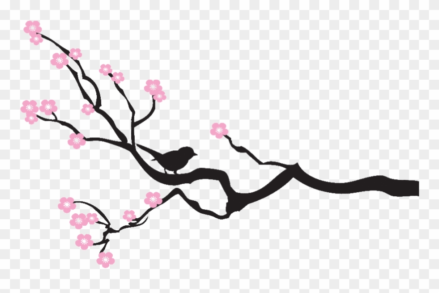 Tree Branches Silhouette With Flowers Clipart (#1194359.