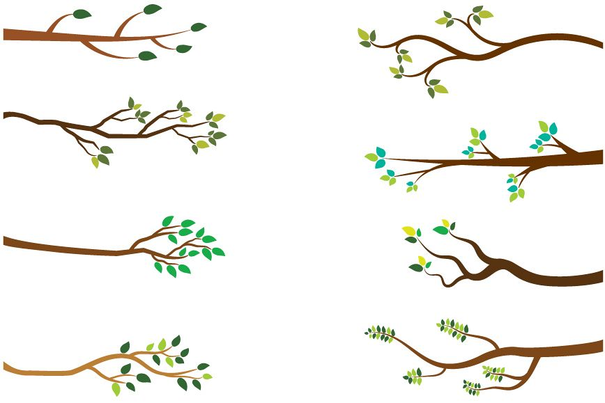 Tree branches clipart, Green leaves branch clip art spring.
