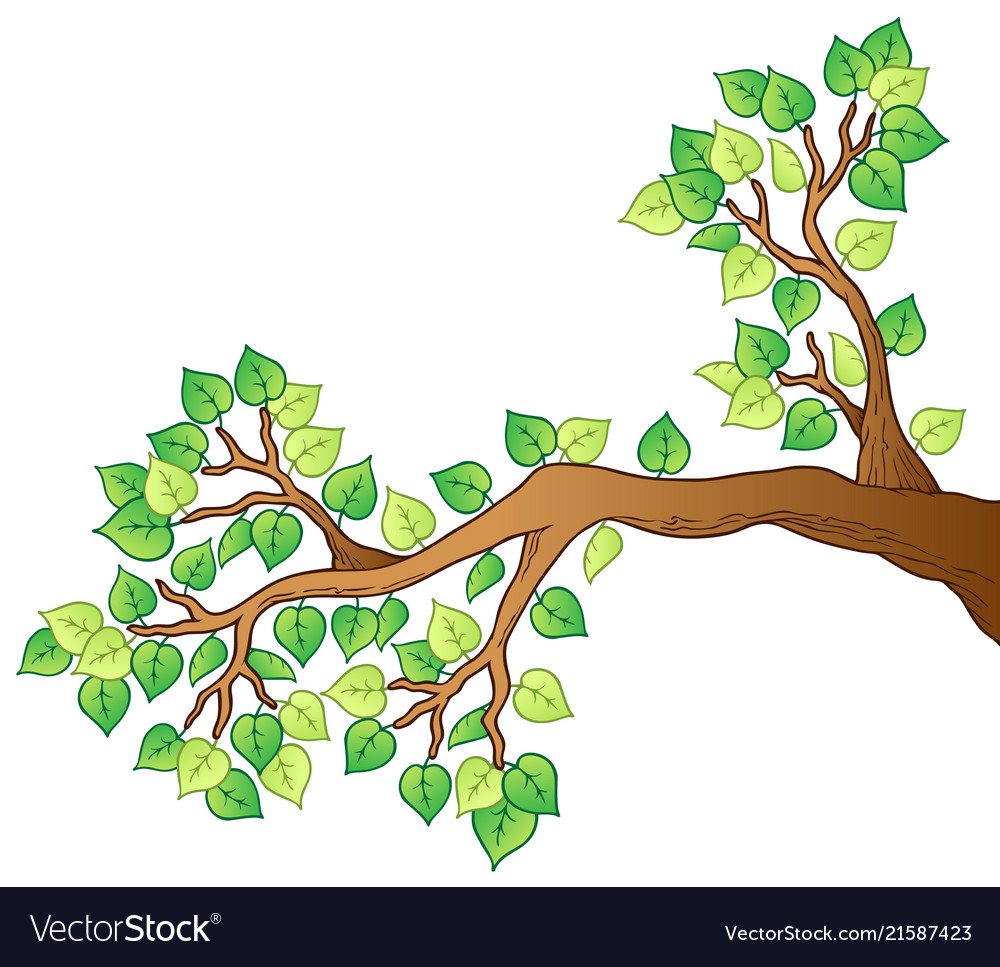Cartoon tree branch with leaves 1.