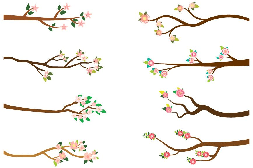 Tree branches with pink flowers clipart set.