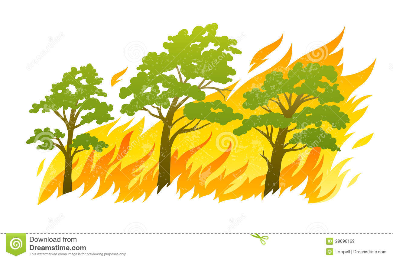 Wildfire Disaster With Burning Forest Trees Royalty Free Stock.