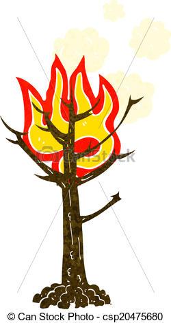Vector of cartoon burning tree csp20475680.