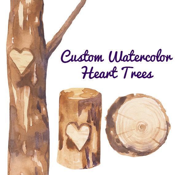 Custom Watercolor Heart Trees Carving Clipart Wedding invites.