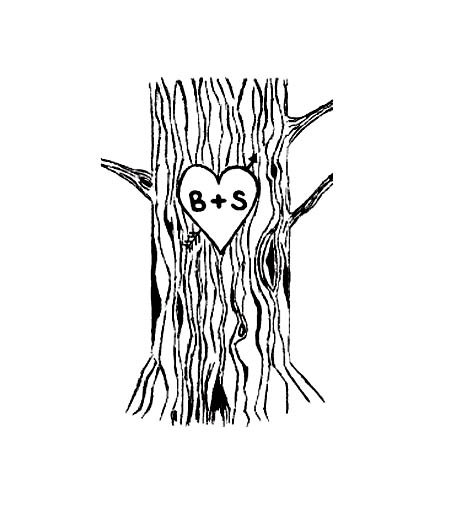 Tree with heart carving clipart.