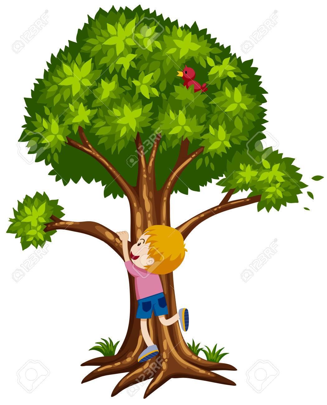 Boy Climbing Tree Clipart.