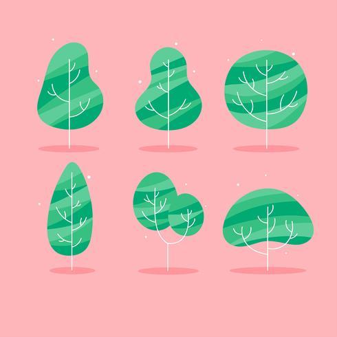 Simple Flat Tree Clipart Set Vector.