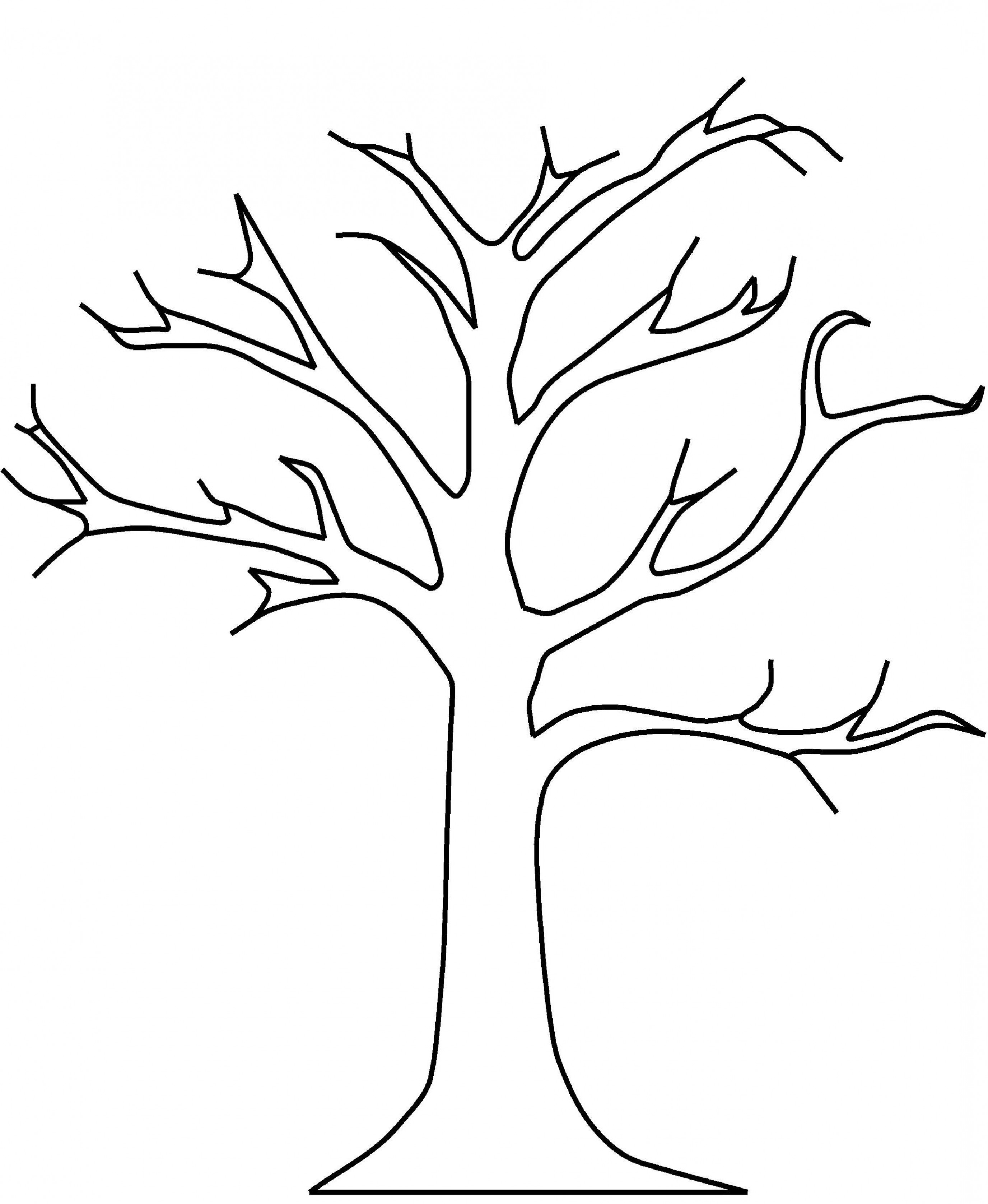 Vector Black And White Tree No Leaves.
