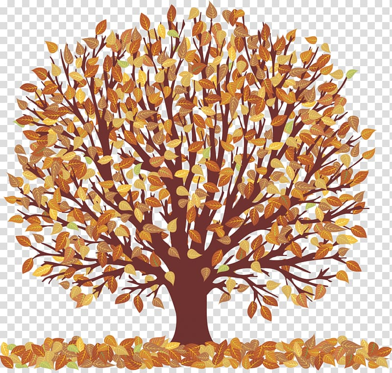 Autumn Tree , Autumn Tree with Falling Leaves , brown leafed.