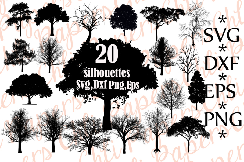 Free Tree Svg Bundle, TREE SILHOUETTE SVG, Trees Clipart.