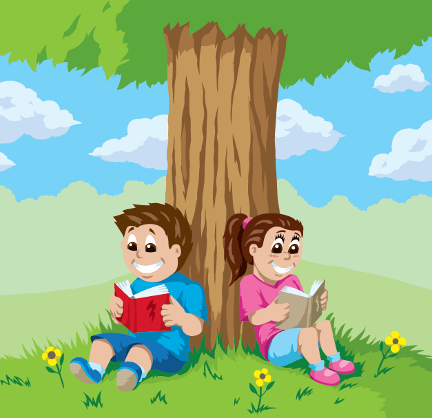 Kids Reading Under A Tree.