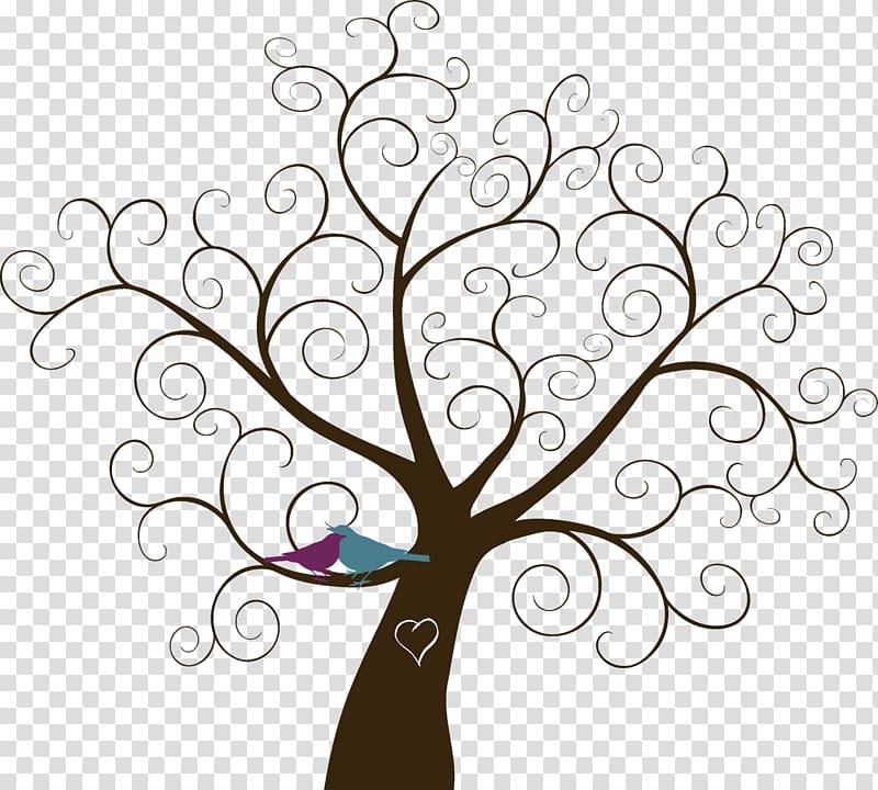 Brown tree illustration, Paper Wedding invitation Template.