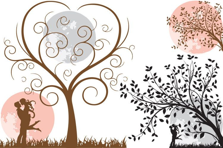 wedding clipart, save the date clipart, tree heart clipart.