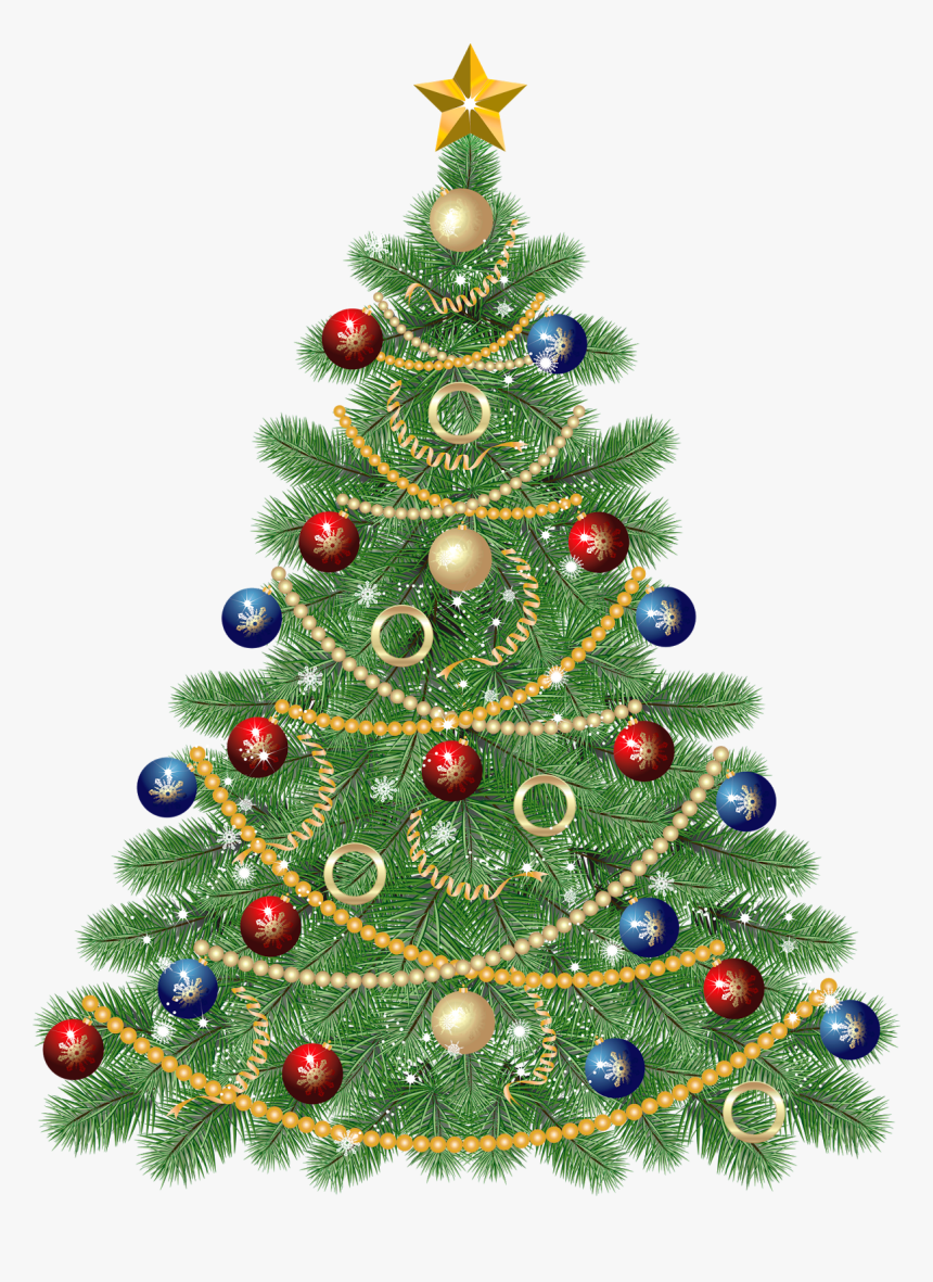 Large Transparent Christmas Tree With Star Clipart.