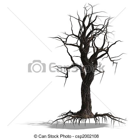 Stock Illustration of 3D Render of a dead tree without leafs with.
