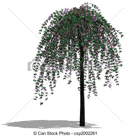 Clipart of 3D Render of a Tree with shadow and clipping path over.