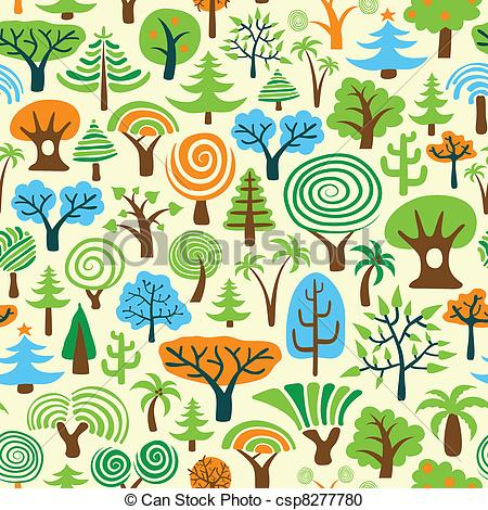 Vector Clipart of Tree Seamless Wallpaper or Background csp8277780.