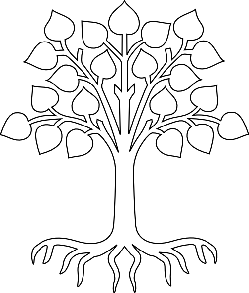 Mango Tree With Roots Clipart Black And White.
