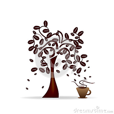 Coffee Tree In A Cup, Vector Royalty Free Stock Photography.