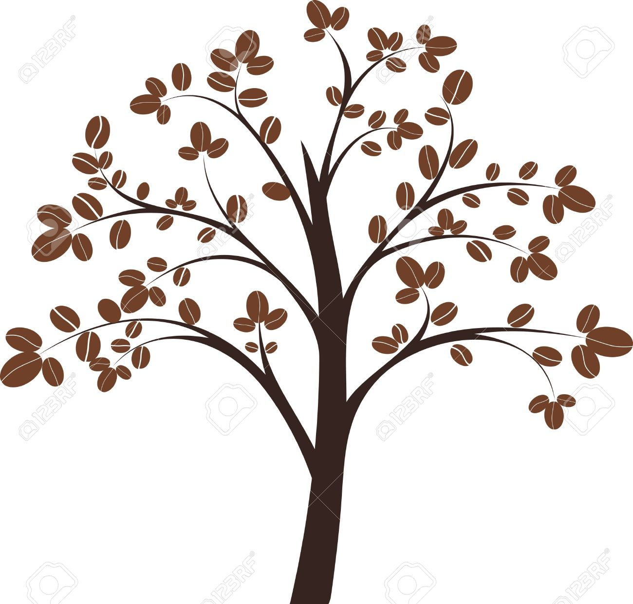 Coffee Tree On White Background Illustration Royalty Free Cliparts.