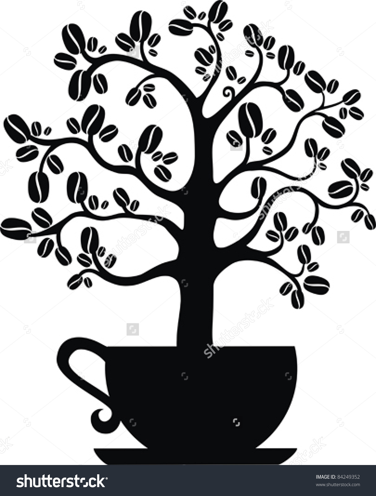 Coffee Tree Isolated On White Background Stock Vector 84249352.
