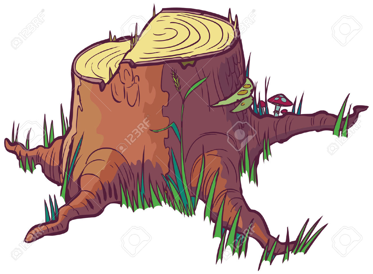 Vector Cartoon Clip Art Of A Tree Stump That Looks Like It Was.