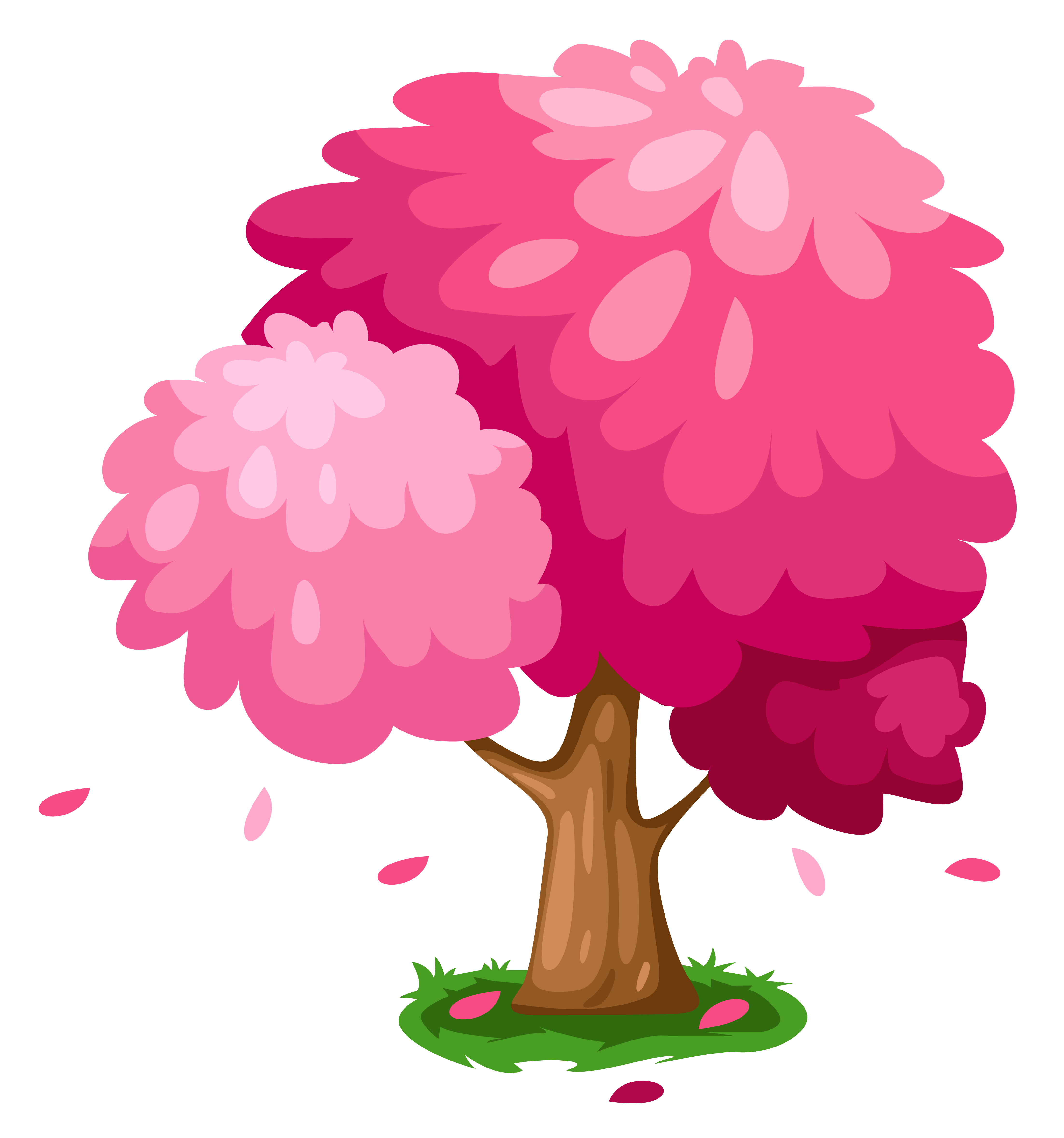 Pink flower tree clipart.