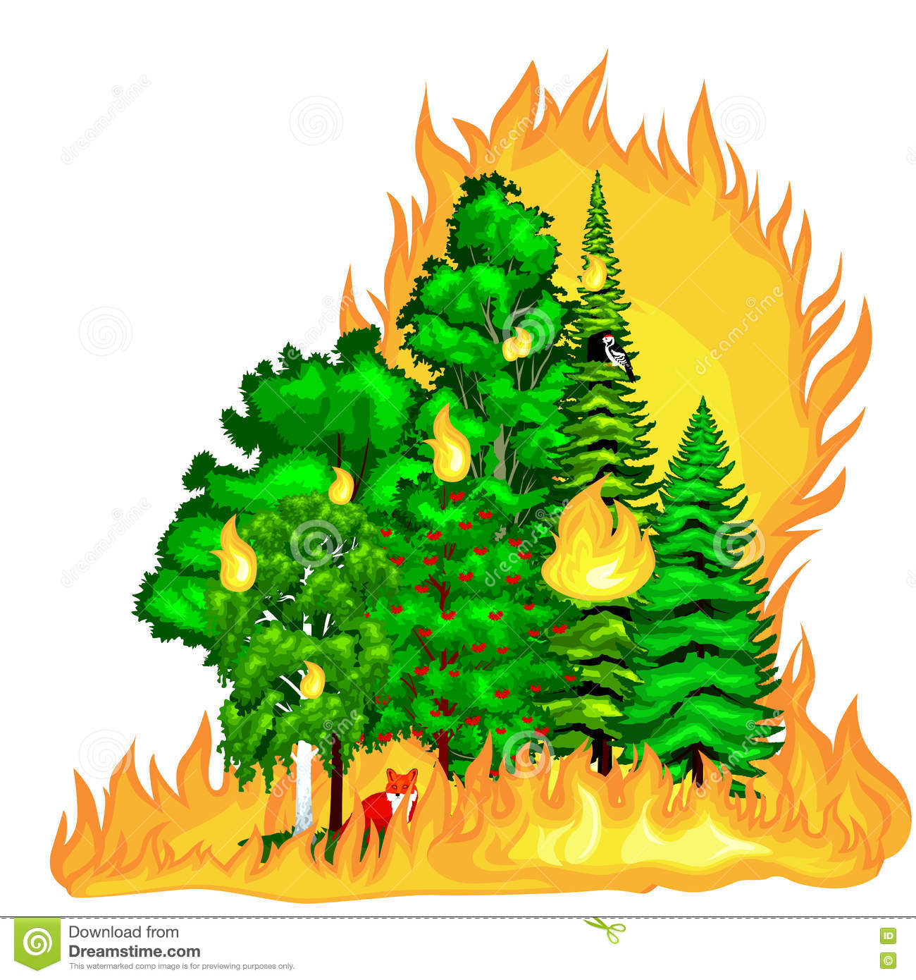 Burning Hot Tree Royalty Free Stock Images.