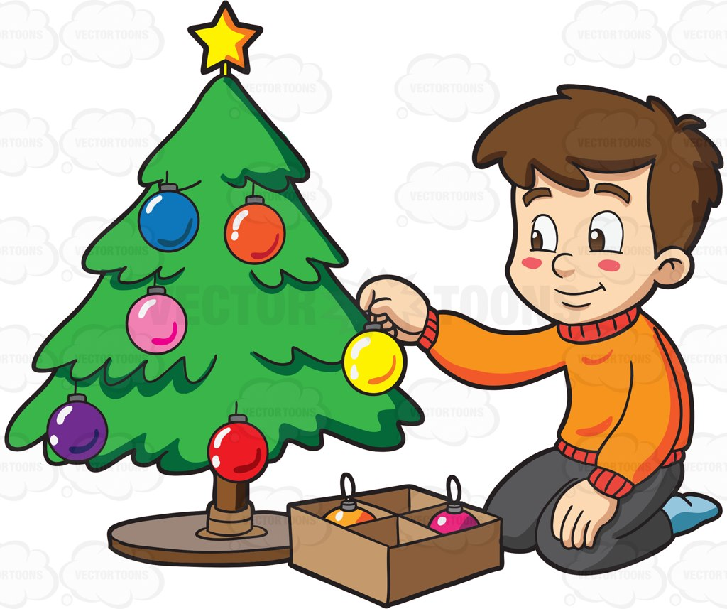 Decorating Christmas Tree Clipart.