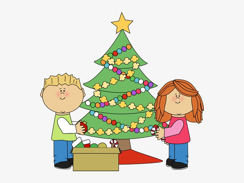Kids Decorating A Christmas Tree Clip Art.