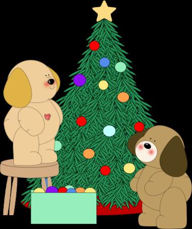 Dogs Decorating Christmas Tree Clip Art.