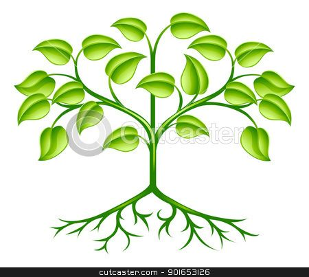 Graphic clip art growing tree.